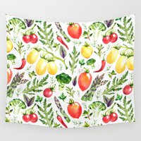vegetables Wall Tapestries featuring Watercolor vegetables by Achtung