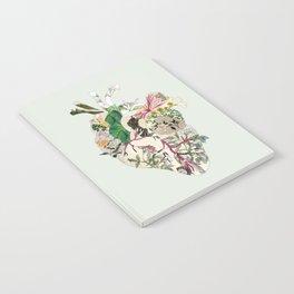 Vintage Botanical Heart On Green Notebook