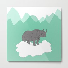 Floating Rhino Metal Print