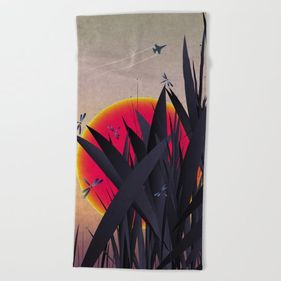 Red Heat with Dragonflies Beach Towel