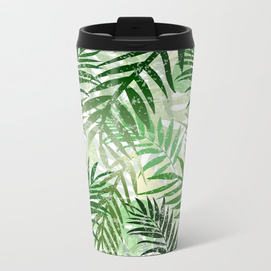 Tropical Green leaves Metal Travel Mug