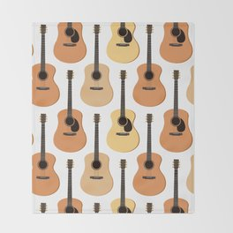 Acoustic Guitars Pattern Throw Blanket
