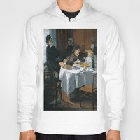 monet Hoodies featuring The Luncheon - Claude Monet - 1868 by Paulrommer
