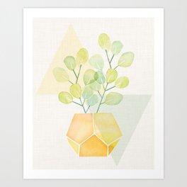 House Plant on Geometric Abstract Art Print