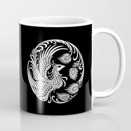Traditional White and Black Chinese Phoenix Circle Coffee Mug