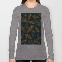 Elegant trendy peacock feathers pattern Long Sleeve T-shirt