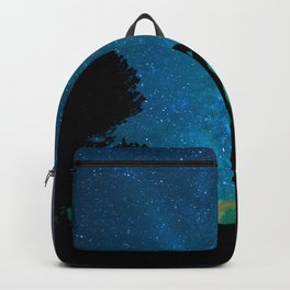 Silhouettes of a loving couple against a starry sky Backpack