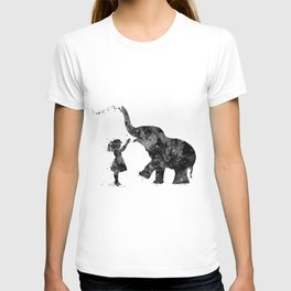Girl And Elephant Black and White Silhouette T-shirt