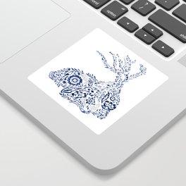 Folk Floral Indigo Deer Sticker