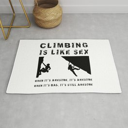 Climbing is Like Sex - Awesome - Sports Shirt Climber Climb Boulder Rug