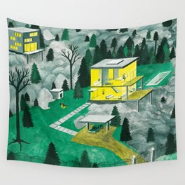 Night Houses Wall Tapestry