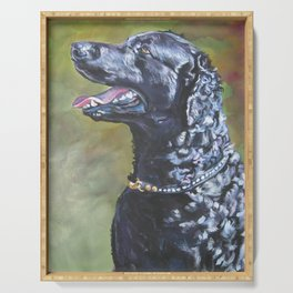 A Curly-Coated Retriever dog portrait from an original painting by L.A.Shepard Serving Tray