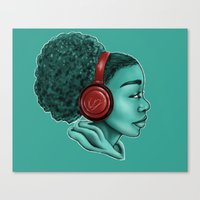 headphones Canvas Prints featuring Headphones by KiraTheArtist