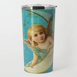 Vintage-Shabby-chic- Beautiful Christmas angel on aqua background Travel Mug