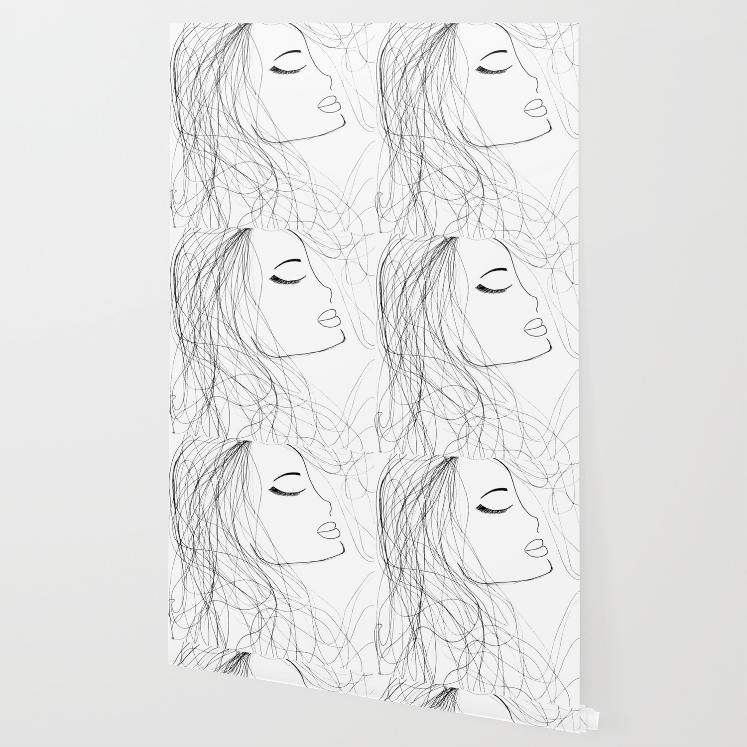 Sketch Of A Girl From My Coloring Book By Jodi Tomer Curly Hair Beautiful Girl Wallpaper By Jodilynpaintings Society6