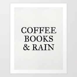 Coffee Books & Rain - Paper Art Print