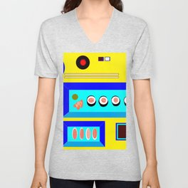 Sushi Served on Blue Dishes with Yellow Tablecloth Unisex V-Neck