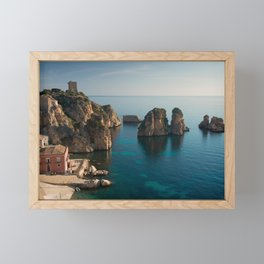 Tonnara and faraglioni rocks in Scopello, Sicily Framed Mini Art Print