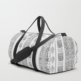 Mud Cloth White and Black Vertical Pattern Duffle Bag