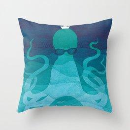 Octopus, sea creature, animals, ocean watercolor teal blue Throw Pillow