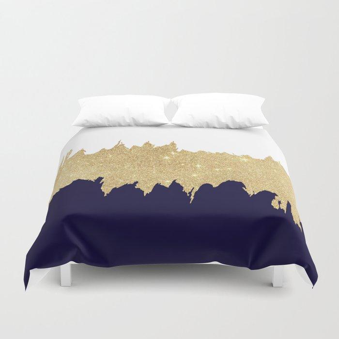 Modern navy blue white faux gold glitter brushstrokes Bettbezug