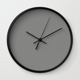 Solid Dark Battleship Gray Color Wall Clock