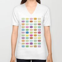 macaroon V-neck T-shirts featuring Colorful macaroon set by MiartDesignCreation