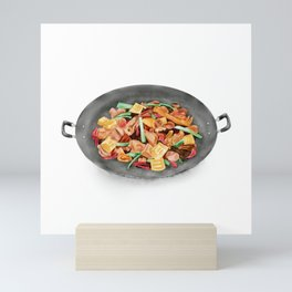 Watercolor Illustration of Chinese Cuisine - Guilin braised chicken with brown sauce | 桂林黄焖鸡 Mini Art Print