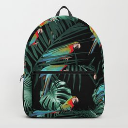 Parrots in the Tropical Jungle Night #2 #tropical #decor #art #society6 Backpack