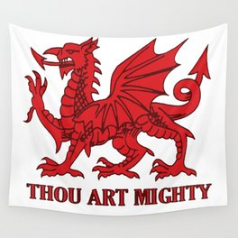 Thou Art Mighty Red Dragon Welsh Rugby Wall Tapestry