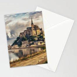 Mont Saint Michel castle painting, French island scenery, Normandy France nature, travel art poster Stationery Cards