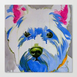 Westie Pop Art Dog Art Portrait  Canvas Print
