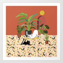 Frenchie Yoga with Plants Art Print
