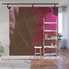 Leaf Texture in Red Wall Mural