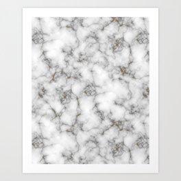 Minimalist gold-flaked marble Art Print
