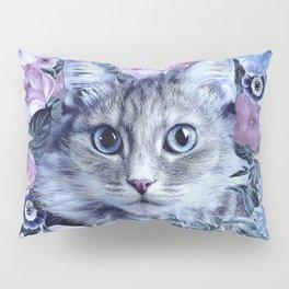 Cat In Flowers. Winter Pillow Sham
