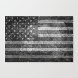 US flag, Old Glory in black & white Canvas Print