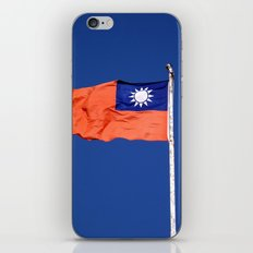 The flag of Taiwan, Republic of China against a blue sky iPhone Skin