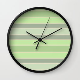 Green , gray stripes. Wall Clock