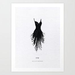 Little Black Fringe Dress Art Print