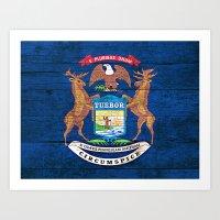 michigan Art Prints featuring Michigan by C Liza B
