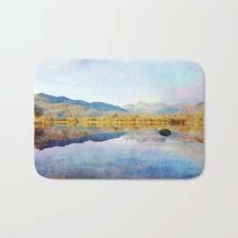 Calm reflections on Derwentwater in the Lake District, Cumbria, UK. Watercolour Painting. Bath Mat