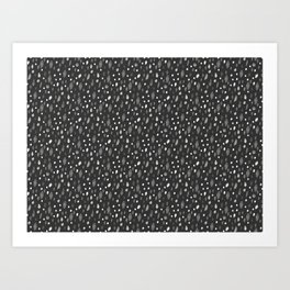 Watercolor Dots, Black Art Print
