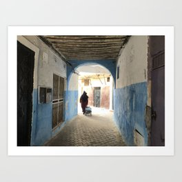 Moroccan lady walking in the Casbah Art Print