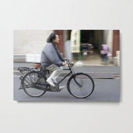Riding a bike near Tsukiji Fish Market Metal Print