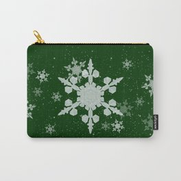 Snow Falls - Green Carry-All Pouch