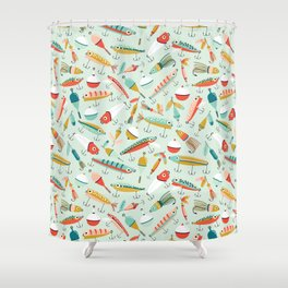 Fishing Lures Light Blue Shower Curtain