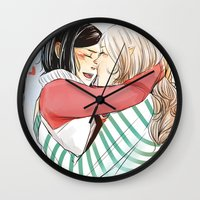 helen Wall Clocks featuring Aline and Helen by The Radioactive Peach