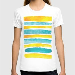 Watercolor yellow and turquoise stripes T-shirt