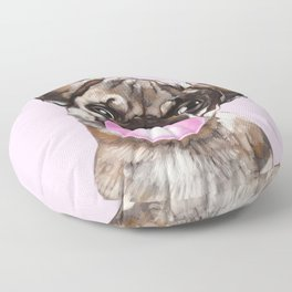 Pug with Pink Bubble Gum Floor Pillow